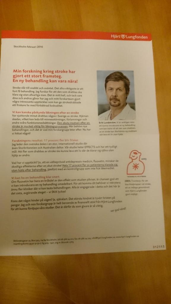 Februari månads insamlingsbrev från Hjärt-lungfonden handlar om EFFECTS.